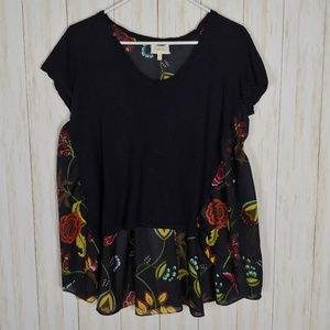 Anthropologie Deletta high low floral back t shirt